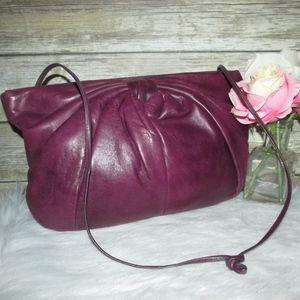 Vintage Mafgolm Purple Pleated Bow Leather Purse